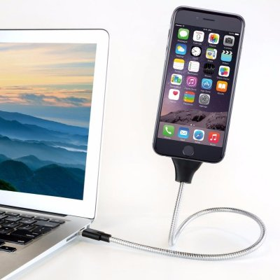 USB-kabel i fleksibelt metal 60cm (Apple / MicroUSB / USB-C)